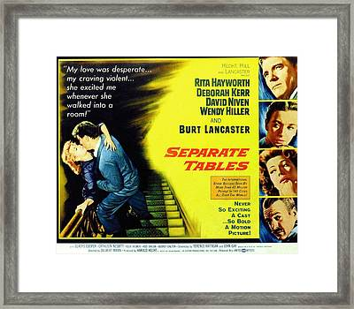 Separate Tables, Top To Bottom, Burt Framed Print by Everett