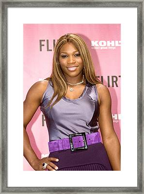 Serena Williams At The Press Conference Framed Print by Everett