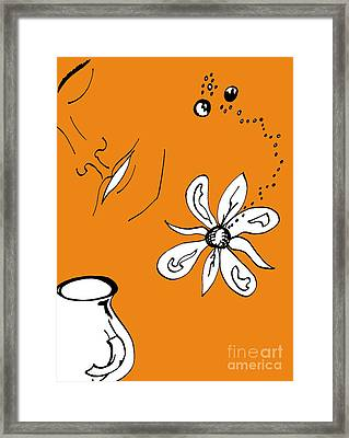Serenity In Orange Framed Print by Mary Mikawoz