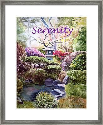 Serenity Framed Print by Irina Sztukowski