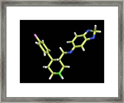 Seroxat (paroxetine) Molecule Framed Print by Dr Tim Evans