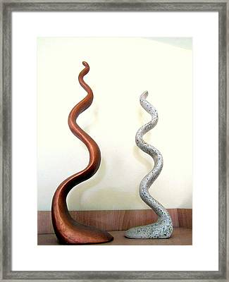 Serpants Duo Pair Of Abstract Snake Like Sculptures In Brown And Spotted White Dancing Upwards Framed Print by Rachel Hershkovitz