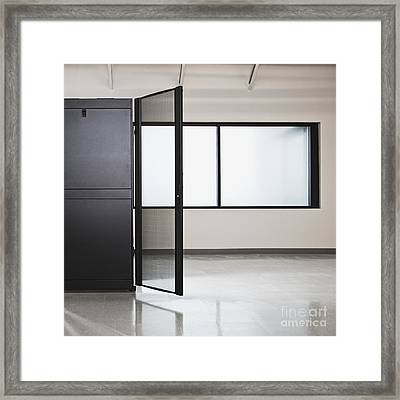 Server Housing With Wire Mesh Door Open Framed Print by Jetta Productions, Inc