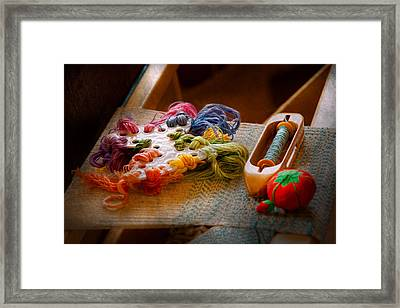 Sewing - Yarn - Threads Of Time Framed Print by Mike Savad