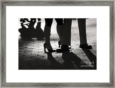 Shadows Of Tango Framed Print by Leslie Leda