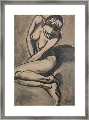 Shadows On The Sand1 - Nudes Gallery Framed Print by Carmen Tyrrell