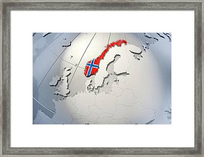 Shape And Ensign Of Norway On A Globe Framed Print by Dieter Spannknebel