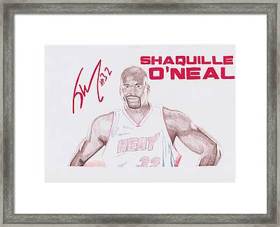 Shaquille O'neal Framed Print by Toni Jaso