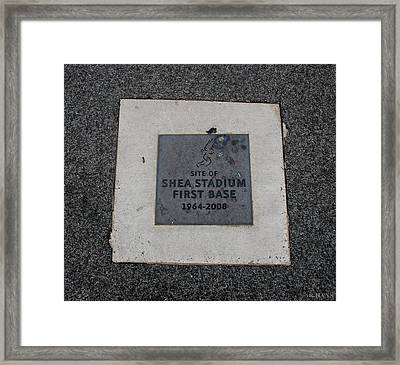 Shea Stadium First Base Framed Print by Rob Hans