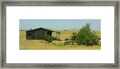 Shed In A Field Of Gold Framed Print by Grace Dillon