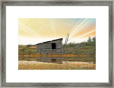 Shed In The Field Framed Print by Vickie Emms