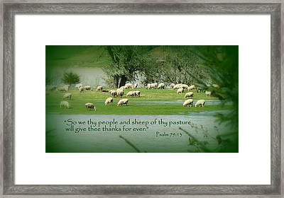 Sheep Grazing Scripture Art Framed Print by Cindy Wright