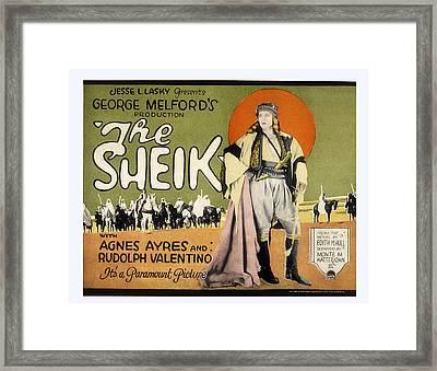 Sheik, Rudolph Valentino, 1921 Framed Print by Everett