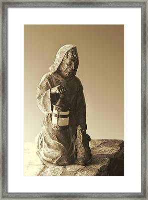 Sheperd With Lantern Sepia Framed Print by Linda Phelps