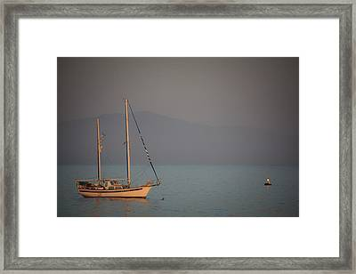 Ship In Warm Light Framed Print by Ralf Kaiser