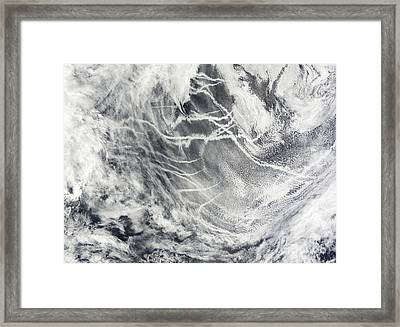 Ship Tracks In The Pacific Ocean Framed Print by Stocktrek Images