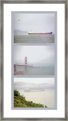 Shipping Triptych - San Francisco Bay Framed Print by Steve Ohlsen