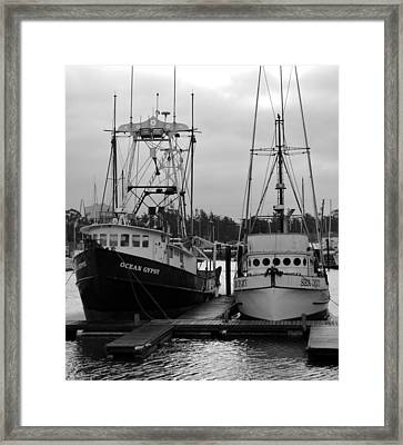 Ships At Anchor Framed Print by Jeff Lowe