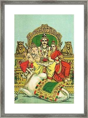 Shiva - Parvati Framed Print by Pg Reproductions