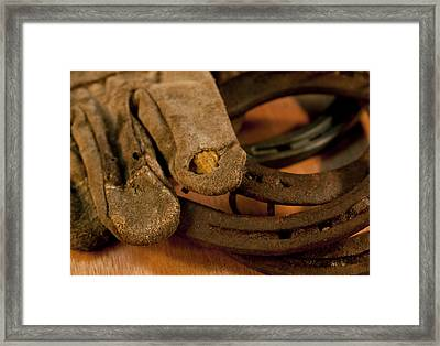 Shoes And Gloves Framed Print by Wilma  Birdwell