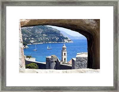 Shore From Castle Window Framed Print by Roman Anuchkin