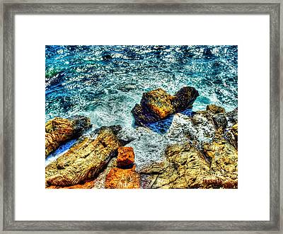 Shores Of The Aegean Framed Print by Michael Garyet