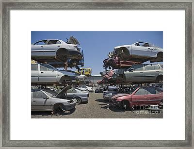 Shot Of Junkyard Cars Framed Print by Noam Armonn
