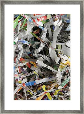 Shredded Paper Framed Print by Photo Researchers, Inc.
