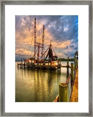 Shrimp Boat At Sunset Framed Print by Debra and Dave Vanderlaan