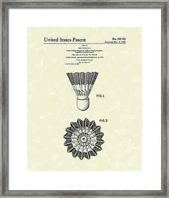 Shuttlecock 1976 Patent Art Framed Print by Prior Art Design