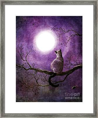 Siamese Cat Dreaming Of Autumn Framed Print by Laura Iverson