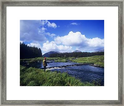 Side Profile Of A Man Fly-fishing In A Framed Print by The Irish Image Collection