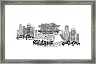 Side View Of Pagoda And Trees, Skyscrapers In Background Framed Print by Eastnine Inc.