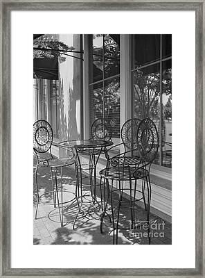 Sidewalk Cafe - Afternoon Shadows Framed Print by Suzanne Gaff