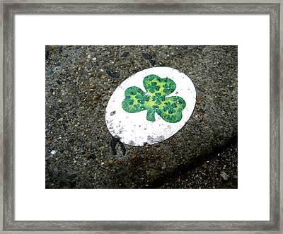 Sidewalk Shamrock Framed Print by Sheryl Burns