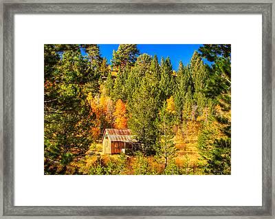 Sierra Nevada Rustic Americana Barn With Aspen Fall Color Framed Print by Scott McGuire
