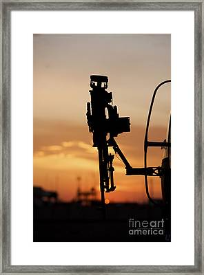 Silhouette Of A M240g Medium Machine Framed Print by Terry Moore