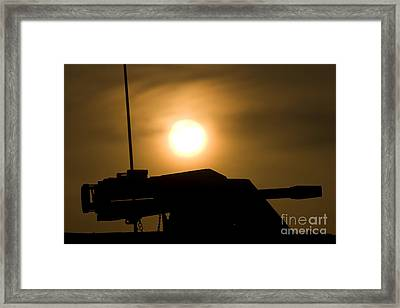 Silhouette Of A Mk 19 Automatic Grenade Framed Print by Terry Moore
