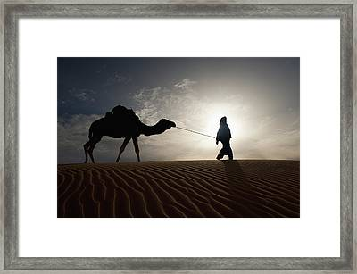 Silhouette Of Berber Leading Camel Framed Print by Axiom Photographic