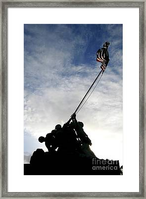 Silhouette Of The Iwo Jima Statue Framed Print by Michael Wood