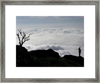 Silhouette Photographer With Group Of Clouds And Fogs Framed Print by Nawarat Namphon