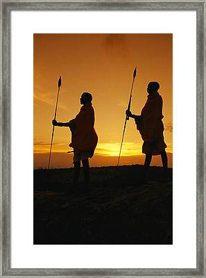 Silhouetted Laikipia Masai Guides Framed Print by Richard Nowitz