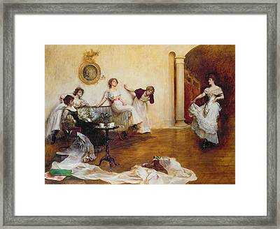 Silks And Satins Framed Print by Albert Chevallier Tayler