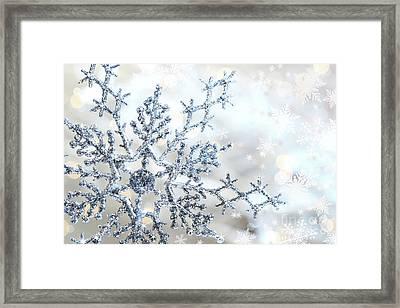 Silver Blue Snowflake  Framed Print by Sandra Cunningham