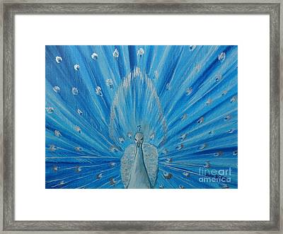 Silver Peacock Framed Print by Julie Brugh Riffey