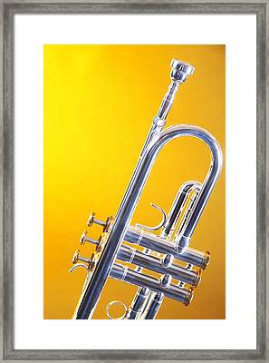 Silver Trumpet Isolated On Yellow Framed Print by M K  Miller