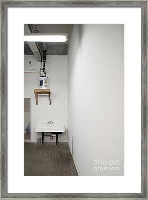 Sink In Warehouse Washroom Framed Print by Eddy Joaquim