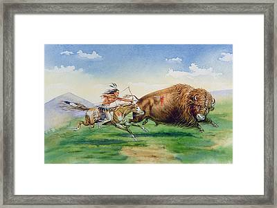 Sioux Hunting Buffalo On Decorated Pony Framed Print by American School