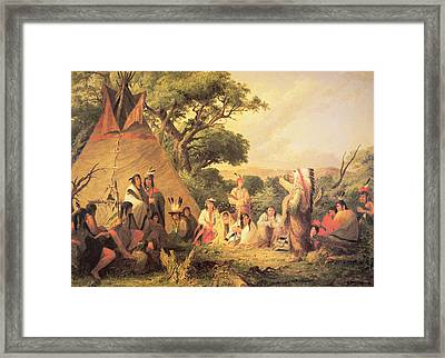 Sioux Indian Council Framed Print by Captain Seth Eastman