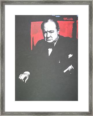 Sir Winston Leonard Spencer Churchill  Framed Print by Luis Ludzska